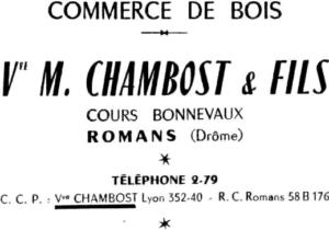 1926 CHAMBOST MATERIAUX Bois
