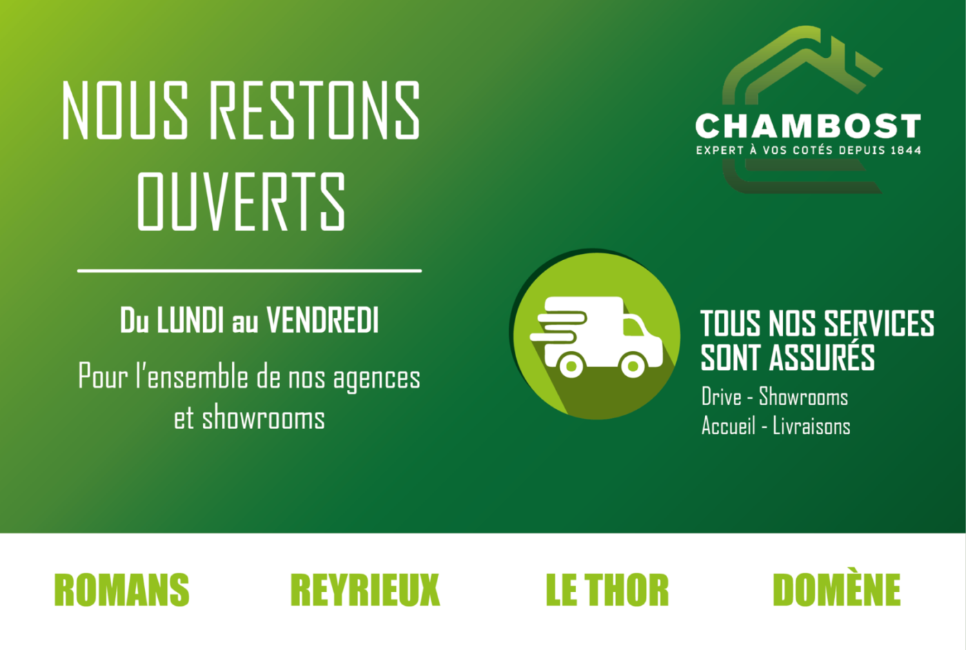 COVID-19, Vos agences Chambost restent ouvertes